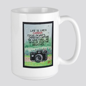 """ LIFE is like a Camera "" / Sculpted Art Mug"